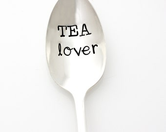Tea Lover. Hand stamped spoon. Stamped silverware, Vintage Tea Spoon by Milk & Honey.