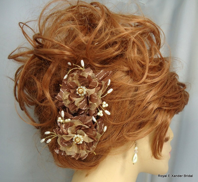 REX15-212 Gold Honey Flowers Flower Hair Pins Bronze Hair Pins Hair Accessories