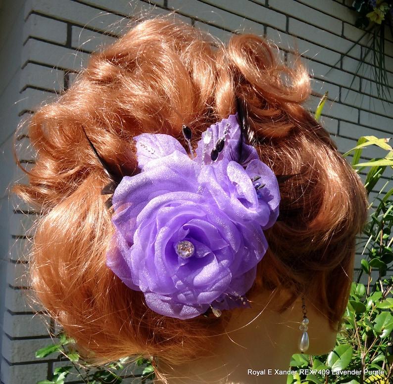 REX17409 Wedding Hair Rose Rose Fascinator Purple Rose Clip Wedding Accessory