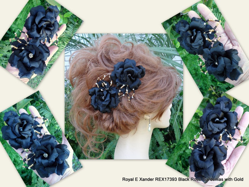 Black Hair Clips Set of 2 REX17393 Rose Gardenia Black Rose Gardenia Black Charmeuse Flowers