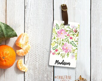 Pink & Green Watercolor Floral Personalized Luggage Tag