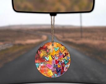 Hearts Rear View Mirror Car Charm Car Coaster Set