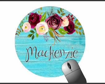 Custom Mousepad Round Floral For Home Office
