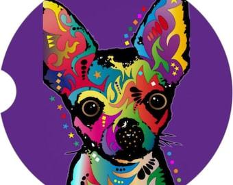 Chihuahua Purple Art Car Coaster Coaster Gift Under 10 Coaster for Car Roses Coaster