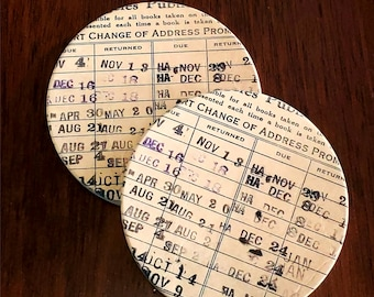 Library Card Coaster Set of 2 Sandstone Round Coasters