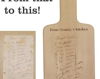 Granny's Recipe Engraved Cutting Board Personalized Handwritten Family Recipe