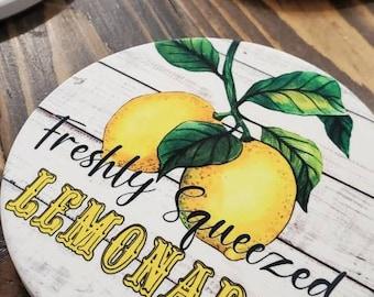 Lemonade Coasters set of 4 Lemon Farmers Market Coasters