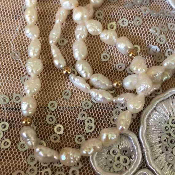 Genuine Pearl String Necklace Rice Pearl Handcrafted Real Pearl Gold Plated and Sterling Silver magnetic clasp Multi String