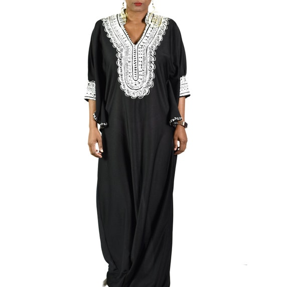 Vintage Kaftan 70s Black Tunic Caftan Maxi Dress D