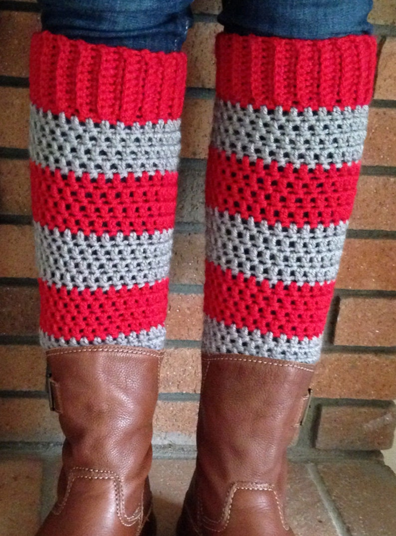 Handcrafted Crochet Acrylic Yarn Blend Teen Adult Leg Warmers -Red and Gray Sport Stripe Accessory