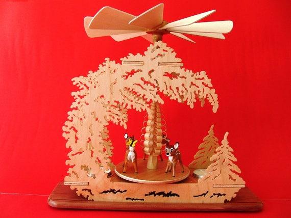 GERMAN HANDMADE Tea Light Pyramid Carved Walt Disney Bambi Figurines Fawn Woodcarving Fretwork Centerpiece Table Decoration Christmas Gift