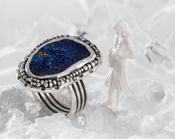Raw Azurite Ring, Raw Stone Ring, Azurite Ring Sterling Silver, Rough Azurite Jewelry, Statement Ring, Mineral Ring, Free Shipping, size 7.5