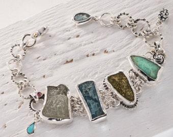 Apatite Bracelet, Raw Stone Bracelet, Fine Silver jewelry, Rough Stone Bracelet, Sterling Silver Bracelet, Green Raw Gemstone Jewellery