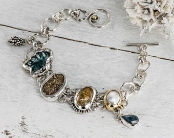 Blue tourmaline, Pyrite, Kyanite,  Rutile quartz, Pearl bracelet, Silver Bracelet, Natural Gemstones, Fine Jewelry, 22k Gold