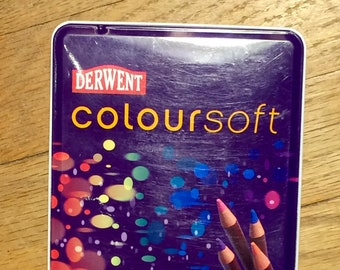 Derwent Coloursoft Colored Pencil Set 12 Soft Lead Pencils Gently Used