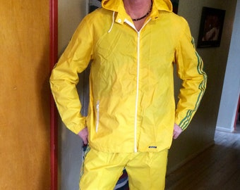 pretty nice 9b41e 55a37 Vintage 1970s men s nylon hooded Adidas track suit   running suit yellow and  green