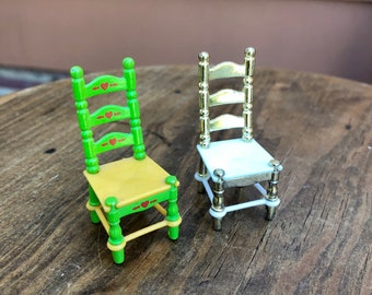 1980 DollFigure Accessory Mattel Tall 1980/'s Vintage toy Green Table and 4 Kitchen Chairs Vintage Rare THE LITTLES