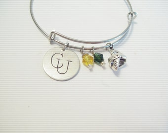 C U Clarkson University Sorority EXPANDABLE Bangle CHARM BRACELET Knights  Green Gold Beads Stamped Silver Custom Made 1C d0568cde0