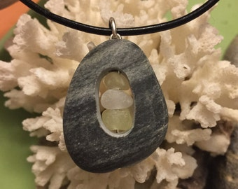 Sea glass jewelry- yellow and white sea glass set in a beach stone.