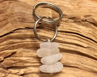 Sea glass jewelry- White sea glass keychain