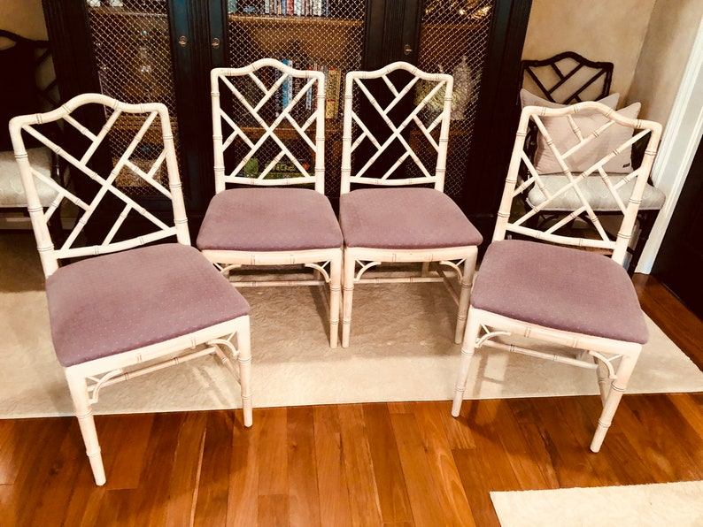 Faux Bamboo Chairs Chinese Chippendale Style Set Of Four Etsy