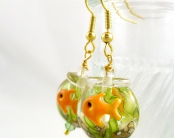 Fishbowl Lampwork Glass Earrings - Goldtone