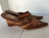 70s brown leather mules heels 9 vintage western pointy toe block heel cutout studded buckle shoes