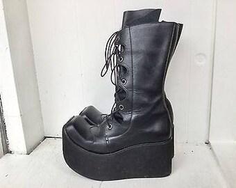 33cb0721ad3ef Vintage 90s steampunk boots 7   black leather lace up boots   platform  combat boots   vintage black boots   black lace up boots