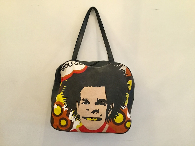 70s Sid Vicious tote bag  vintage black yellow red canvas large purse