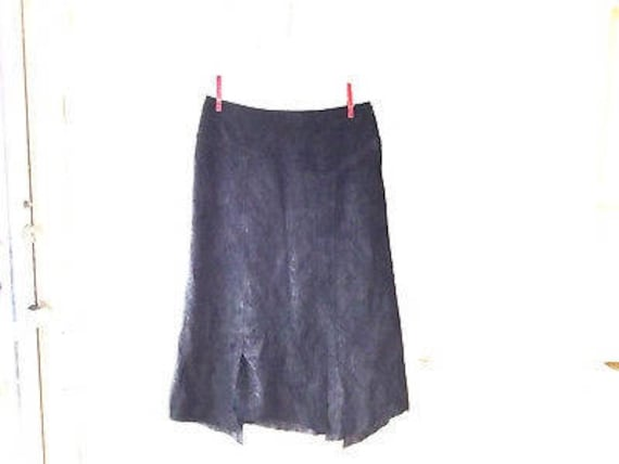 vintage leather skirt S / 90s black suede asymmetr