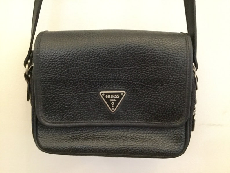 90s Guess black bag   vintage leather crossbody purse    257ab4a67878b