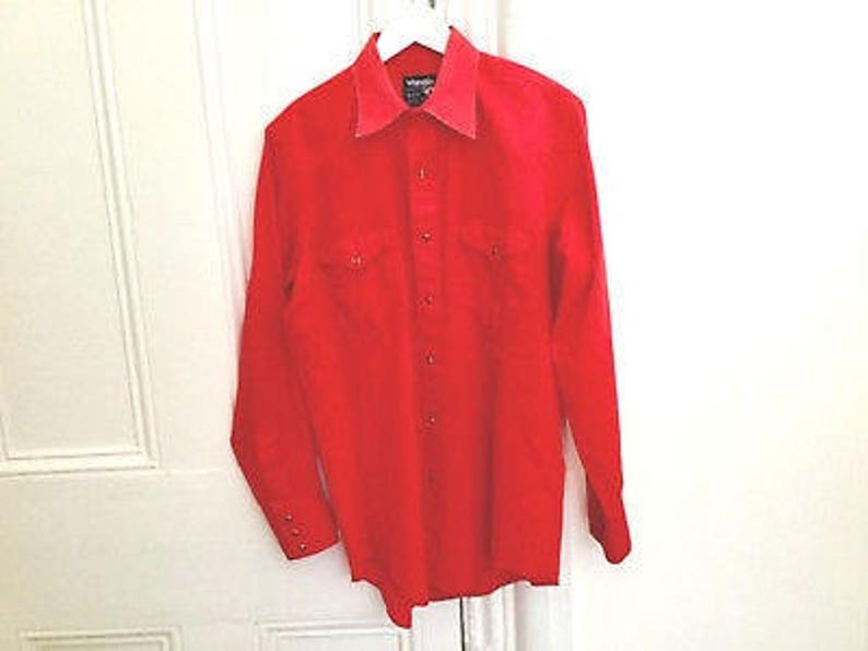 90s Wrangler red shirt ml  vintage western long sleeve shirt  button up pearl snap button button down  red cowboy shirt  vtg western