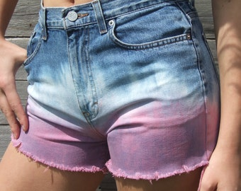 UpCycled High Waisted Pink,White and Blue Shorts, Summer