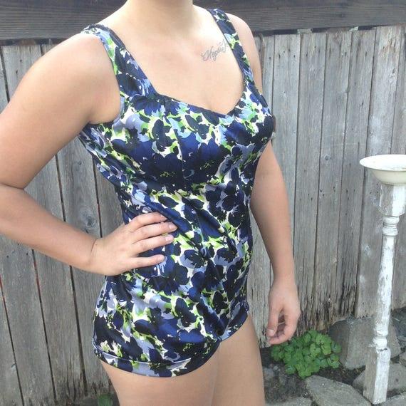 VTG 60s Swim Suit, Floral Swim Suit, Retro Swim Su