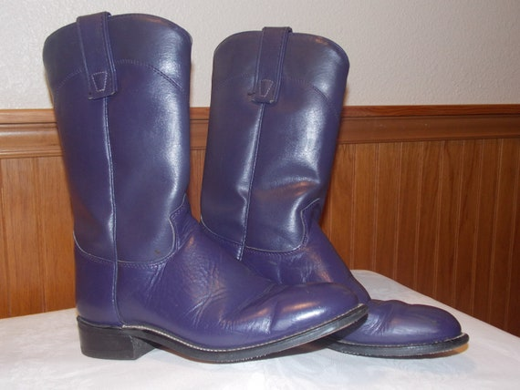 Purple Leather Boots, Roy Coopers, Size 6M. Wester