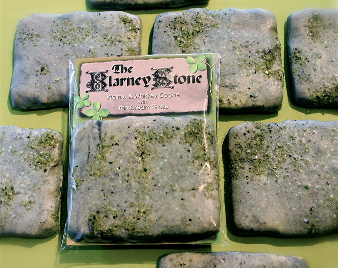 """Delivered St. Patrick's Day party cookies; Twelve Whiskey & Walnut """"Blarney Stone"""" Cookies with an Irish Cream Glaze, individually packaged"""