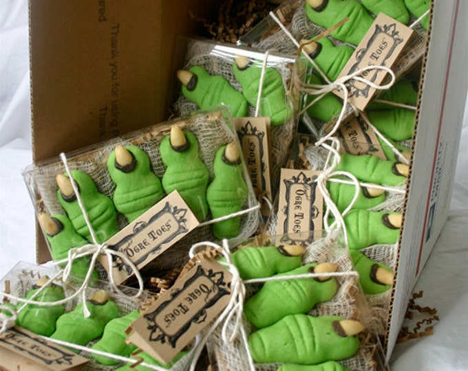 "12 - Five Toe Gift Boxes of Halloween & Shrek Party Cookies - ""Ogre Toes"" in your choice: Maple and/or Almond"