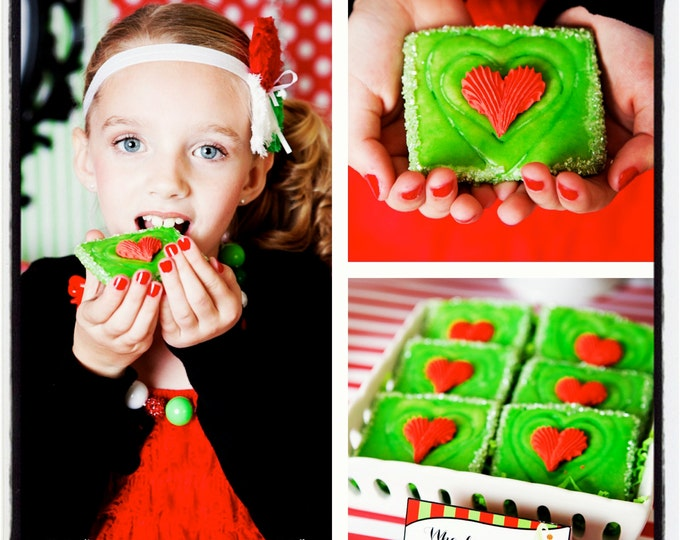 Mail Order Dr Seuss inspired Grinch's Heart Christmas Cookies Original Recipe of Apple Cider, Caramel, Cinnamon; Quantity: 6 / Item #1006030