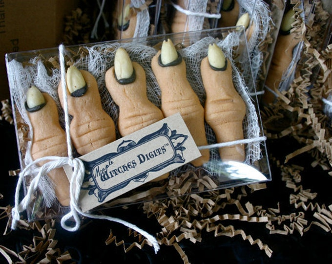 """1 Gift Box of Five Creepy Finger Cookies, Maple Flavored """"Witches Digits"""""""