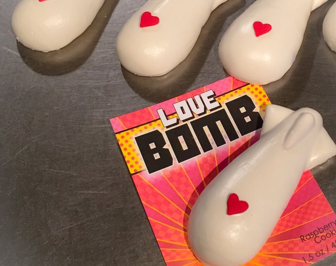 """Delivered cookies for Valentine's Day...BOOM! Six """"Love Bomb"""" cookies each in fun comic book style packaging"""