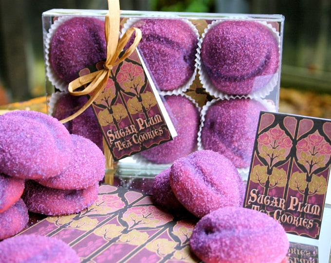 Delivered to your door Christmas Cookies, Gift Boxed Sugar Plum Tea Cookies, Sparkling in Custom Sanding Sugar made with Natural Plum Flavor