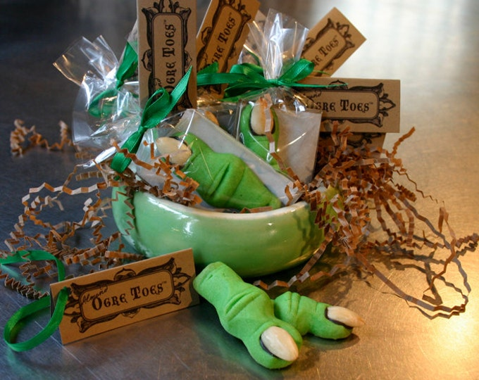 Ogre Toes Shrek Cookie Party Pack of 24 Individually Wrapped shortbread cookies, Almond or Maple