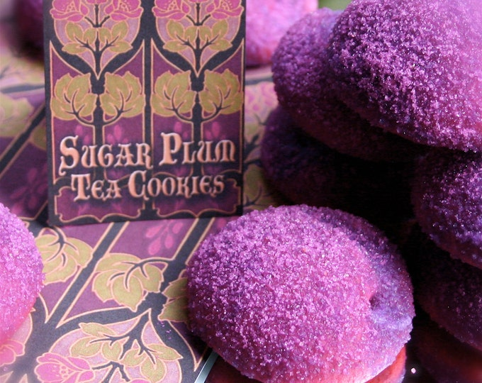 Delivered Stocking Stuffer Christmas Cookies, 8 Sugar Plum Tea Cookies, Natural Plum Flavor, Sparkling Sanding Sugar, Individually Wrapped