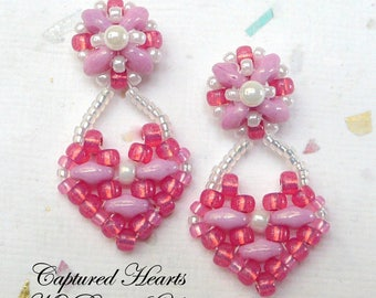 SuperDuo Earrings, Beadwork Earrings, Beadwoven Earrings, Beaded Earrings, SuperDuo,Valentine Earrings,Earring Tutorial,Heart Earrings