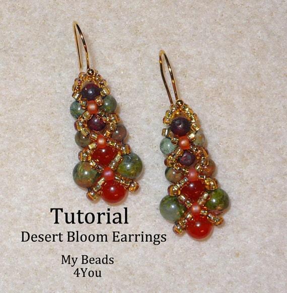 Pdf Beaded Earrings Tutorial Beaded Earring Pattern Seed Bead Tutorial Pattern How To Bead Jewelry Earrings Diy Earring