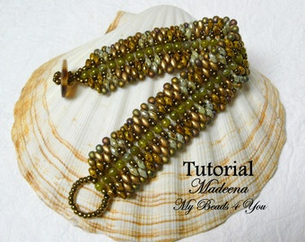 DIY Beading Tutorial, Superduo Bracelet Pattern, Beadweaving Tutorial,Pattern,Seed Bead Tutorial,PDF Superduo Tutorial, Beading Instructions
