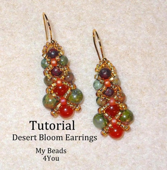 Tatting pattern earrings PDF Icicles with crystals