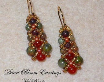 Beaded Earrings, Beadwoven Earrings, Seed Bead Earrings, Drop Earrings, MyBeads4You, Green Beaded Earrings, Boho Earrings, Golden Earrings