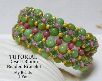 DIY Beading Instructions, PDF Beading Tutorial, Beaded Bracelet Tutorial, Embellished Bracelet Pattern,How to Bead, Seed Bead Tutorial