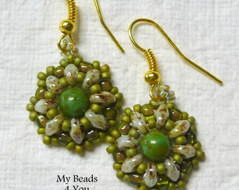 SuperDuo Beadwoven Earrings - Beadwork Earrings - Green Earrings - Beaded Earring -  SuperDuo - Jewelry Gift - Drop Earrings - MyBeads4You